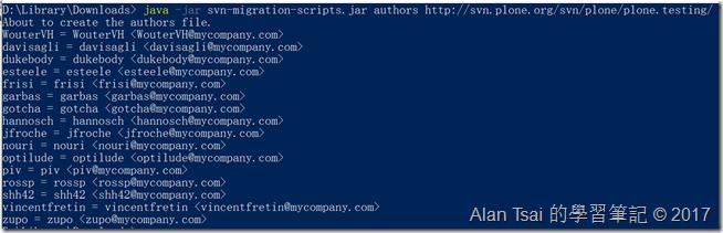 某個open source svn的人名清單,這邊沒有pipe到檔案因此可以直接看到