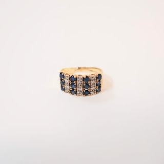 14K Gold, Diamond and Sapphire Pinky Ring