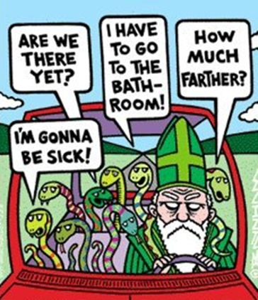 st patrick driving the snakes out of Ireland