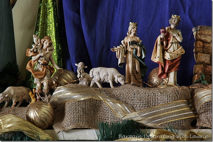 Shepherd with Sheep in Nativity on Mantel