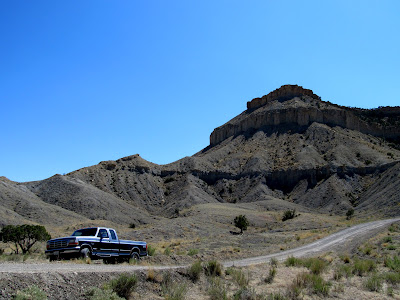 The truck parked where the road crosses Horse Canyon