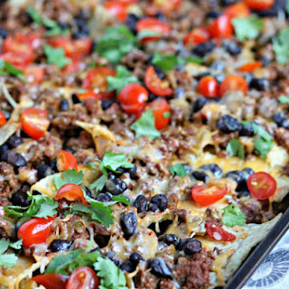 Baked Beef and Black Bean Nachos.