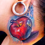 apple - Neck Tattoos Designs