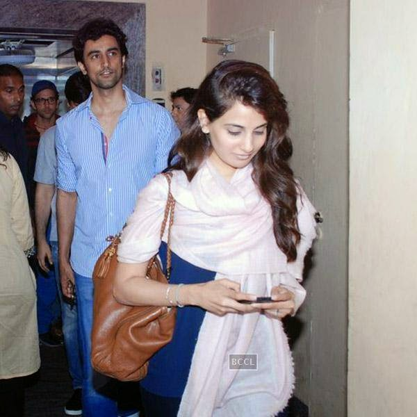 Kunal Kapoor spotted leaving a suburban multiplex with his fiance Naina Bachchan, mega star Amitabh Bachchan's niece, on July 29, 2014.(Pic: Viral Bhayani)