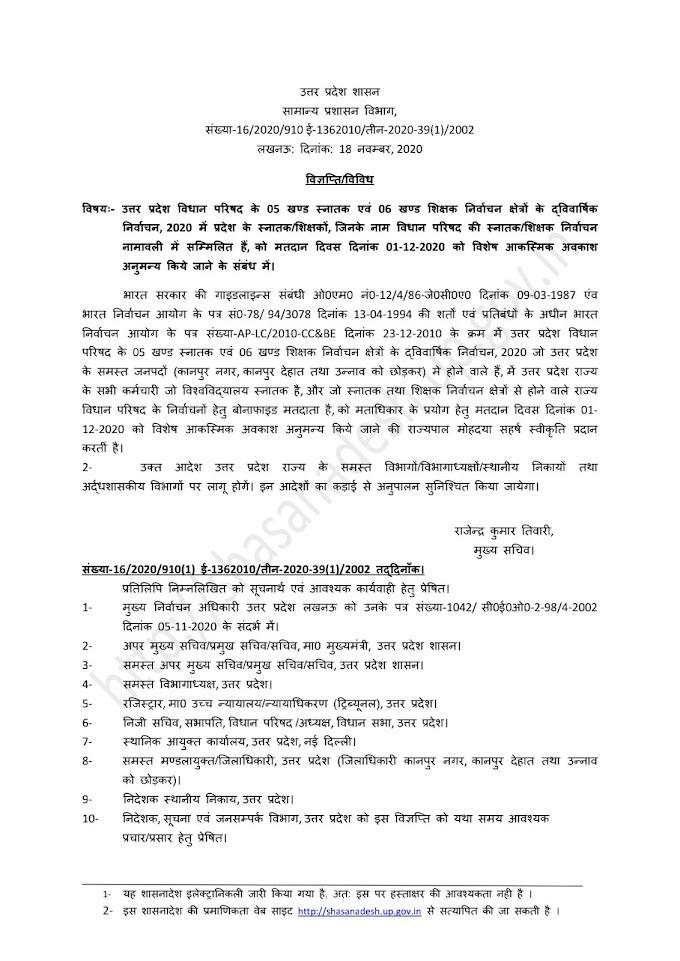 विधान परिषद (MLC) चुनाव में 01 दिसम्बर 2020 को मतदान हेतु मतदाताओं को विशेष अवकाश अनुमन्य होने के सम्बन्ध में