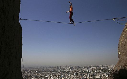 APTOPIX Mideast Iran Slacklining