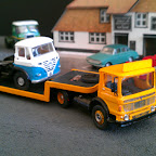 AEC Mandator Low loader artic, part of a fictitious haulage firm. Parts Used BL1 cab, W8 Wheel set, various B/toys parts.