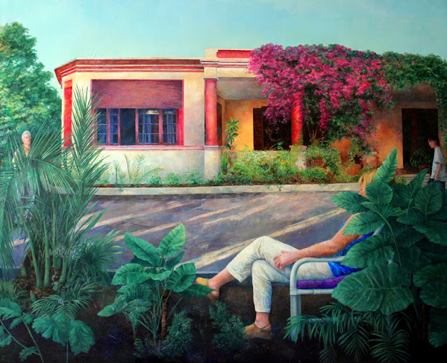 Tánger Le riad, pintura al óleo de la pintora Consuelo Hernández