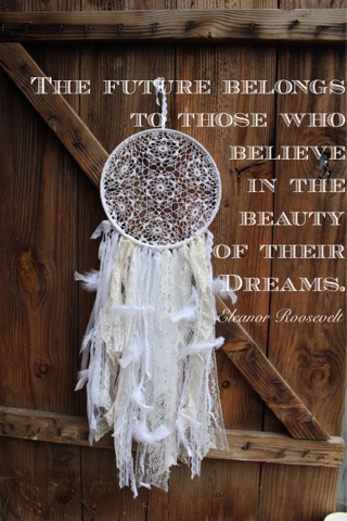 white feather and lace dream catcher
