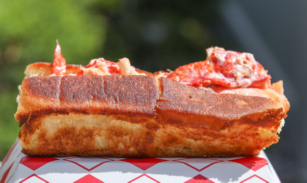close-up photo of a New England Lobster Roll