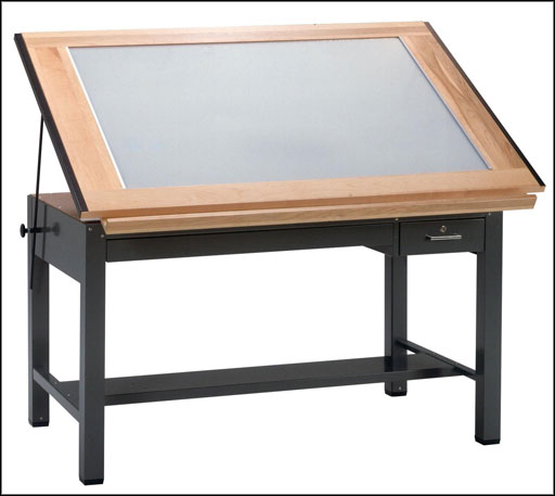 mayline wooden drafting light table