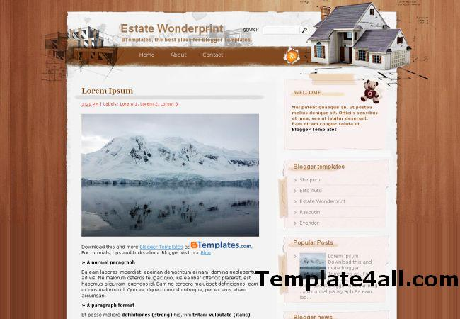 Free Estate Business Wood Blogger Template