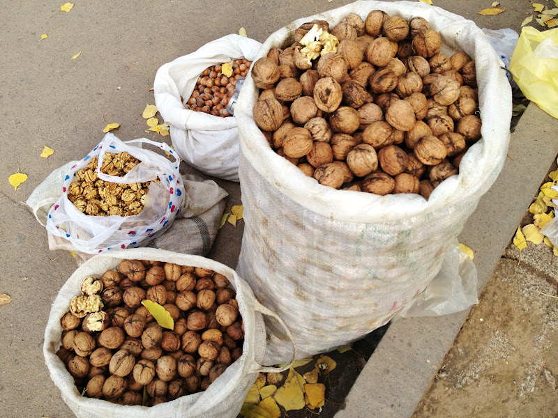 Selling walnuts and hazelnuts by the roadside