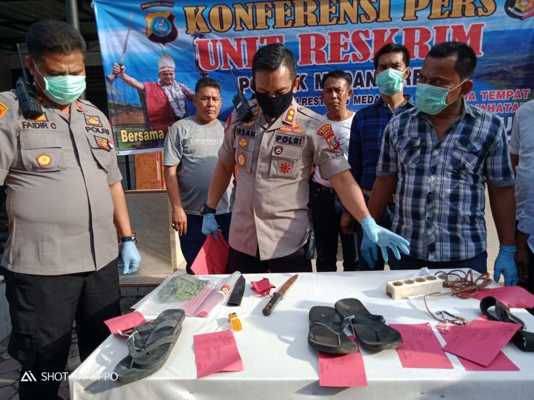 Polrestabes Medan Press Rilis Keberhasilan Polsek Medan Area Ungkap Kasus Pembunuhan