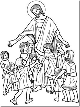 Colorear Jesús Rodeado De Niños Colorear Tus Dibujos
