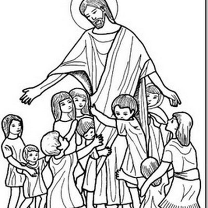 Colorear Jesús rodeado de Niños