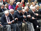 Britse veteranen van Bomber Command. Maurice Snowball, Bernie Harris, David Fellowes.