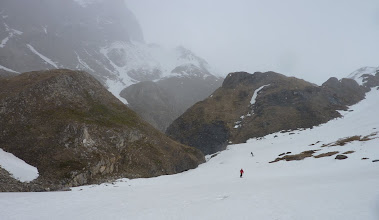 Photo: Penny and Stephen skiing the last pitch