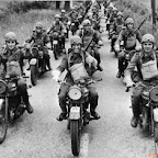 8th December 1941:  The motorcycle division of the Czech army training in England during World War II.  (Photo by Taussig/Fox Photos/Getty Images)