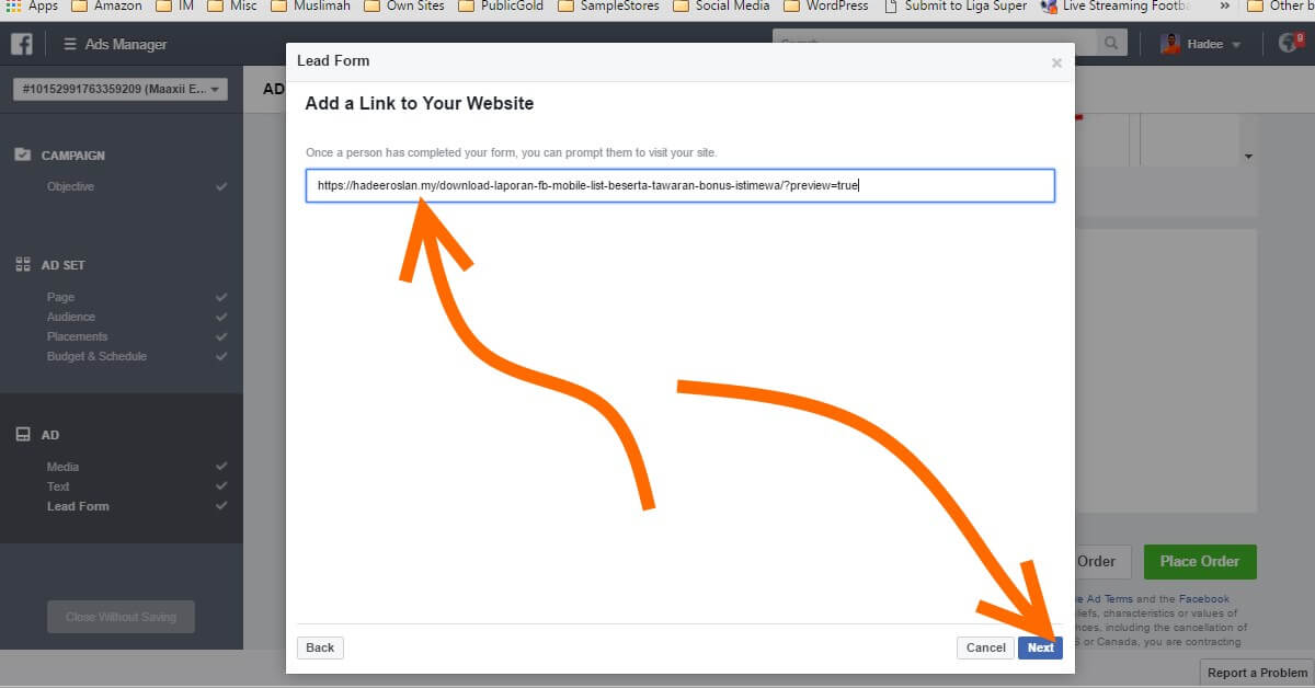 Facebook Ads Ad Lead Form Website URL