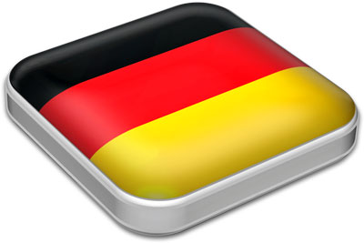 Flag of Germany with metallic square frame