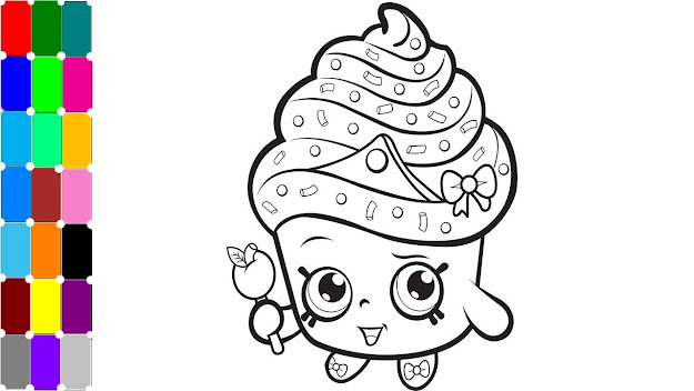 Learning Colors For Kids  Cupcake Queen Exclusive Shopkins Fun Coloring  Pages For Girls