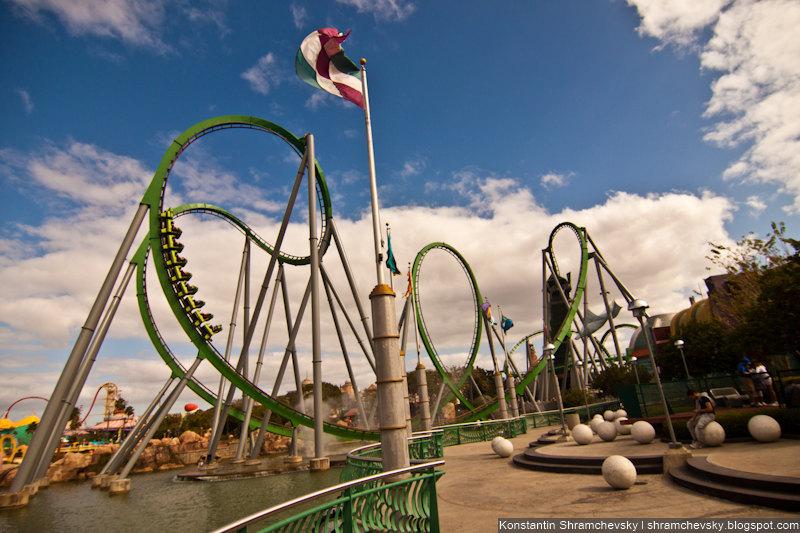 USA Florida Orlando Universal Islands Of Adventure Incredible Hulk Rollercoaster США Флорида Орландо Юнивёрсал Айлендс оф Адвенча Острова Приключений Невероятный Халк Американские Горки