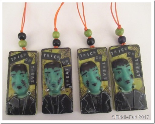 Frankenstein Trick or Treat Tags Fimo Frankenstoien