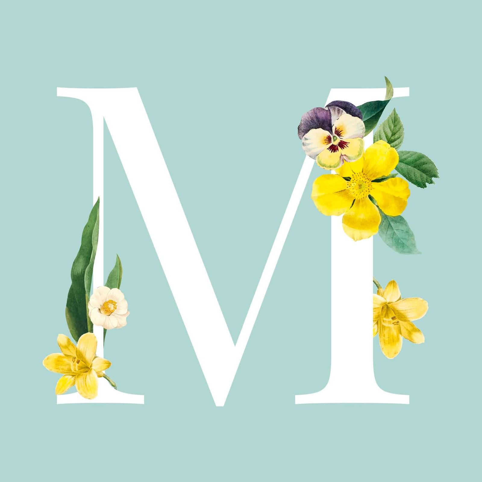 Floral Capital Letter M Alphabet Vector Free Download Vector CDR, AI, EPS and PNG Formats