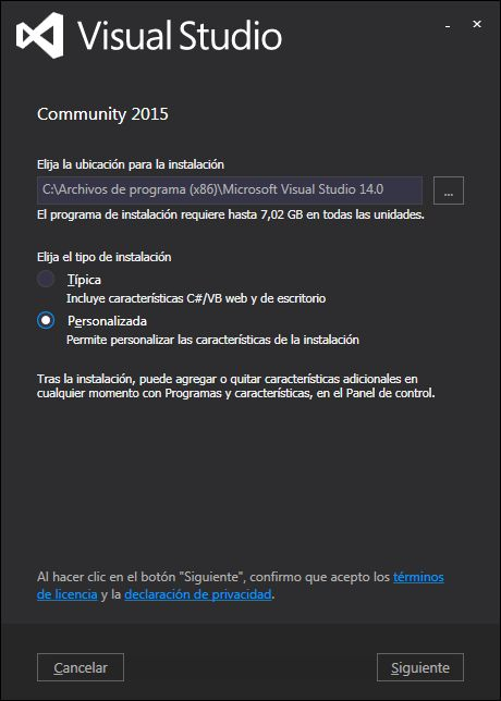 Descarga e instalación de Visual Studio .Net Community 2015 gratuito