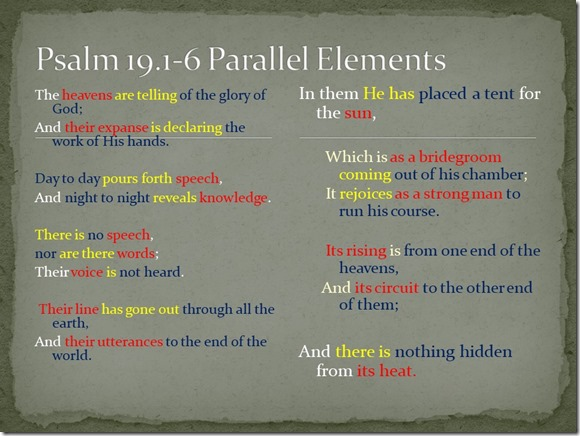 Psalm 19 1-6 parallel elements