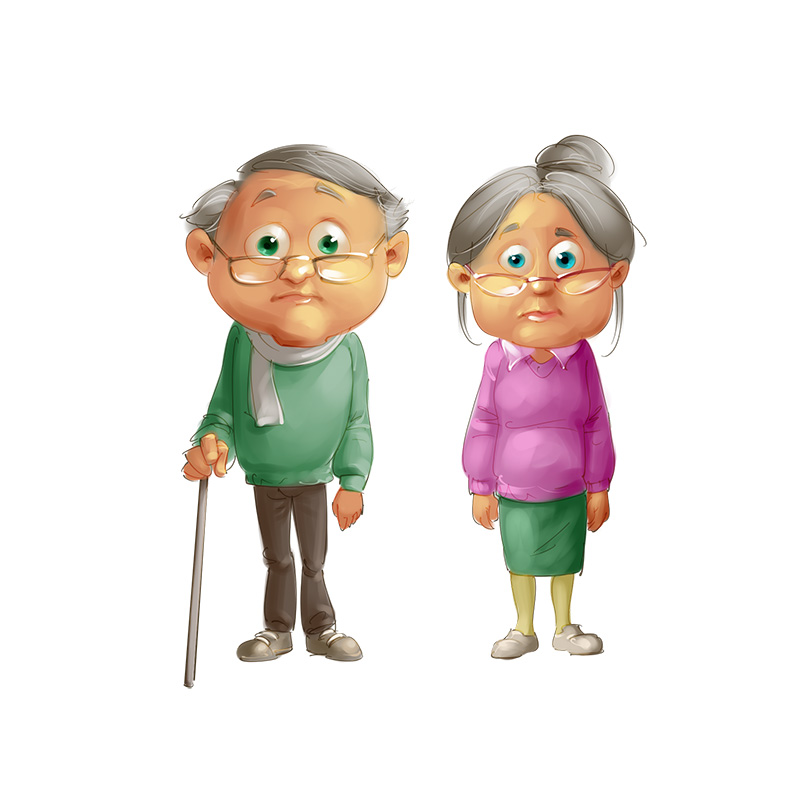 Old couple mascot design
