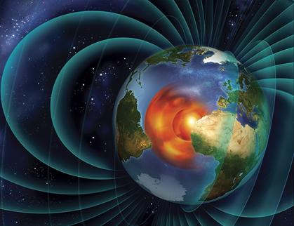 ilustração do núcleo da Terra e o seu campo magnético
