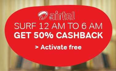 Airtel Night Internet Data & Calls - 50 % Cashback on Consumed During 12 AM to 6 AM
