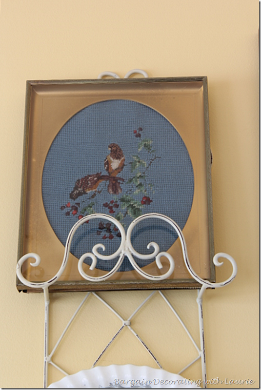 Needlepoint bird and flowers for Summer Decor