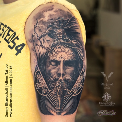 """53545ae5a Lord Arjuna tattoo by Sunny Bhanushali at Aliens Tattoo India. Someone  said, """"The greatness of art is not to find what is common but what is  unique"""" and ..."""
