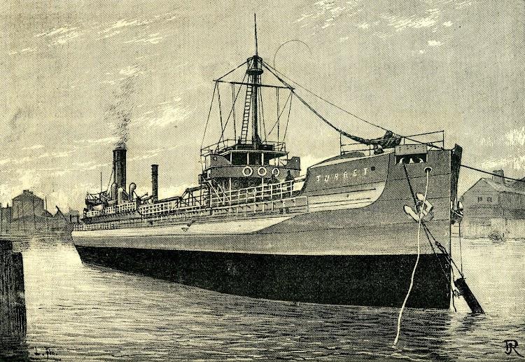 Vista de proa del TURRET. Grabado de la REVISTA DE NAVEGACION Y COMERCIO. Año 1893.jpg