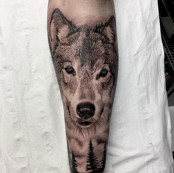 este_preto_e_cinza_tinta_lobo_tatuagem