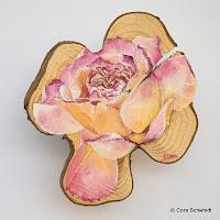 """""""Rose hellrosa-gelb"""", Öl auf Eibenholz, 10x15, 2006, verkauft"""