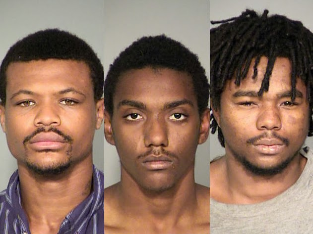 Alexander Dupree, 23, Trae Spells, 18, and Michael Pugh, 21, arraigned on dozens of counts of Rape and Robbery.