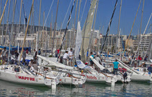 J/80 fleet in Palma Mallorca Harbor- sailing PalmaVela