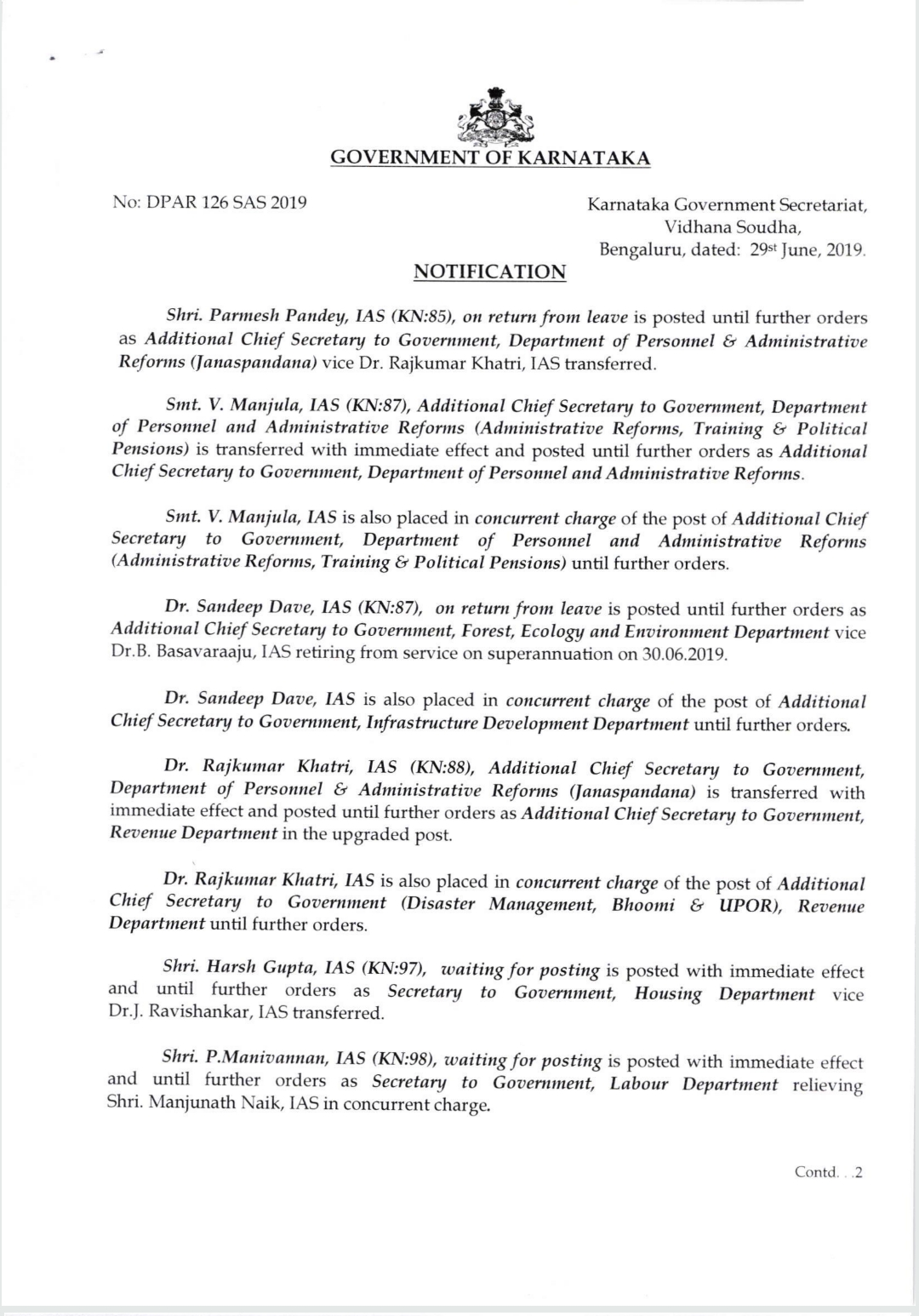 The transfer order of the Commissioner of Public Instruction, Mr. PC Japper Sir and several IAS officers
