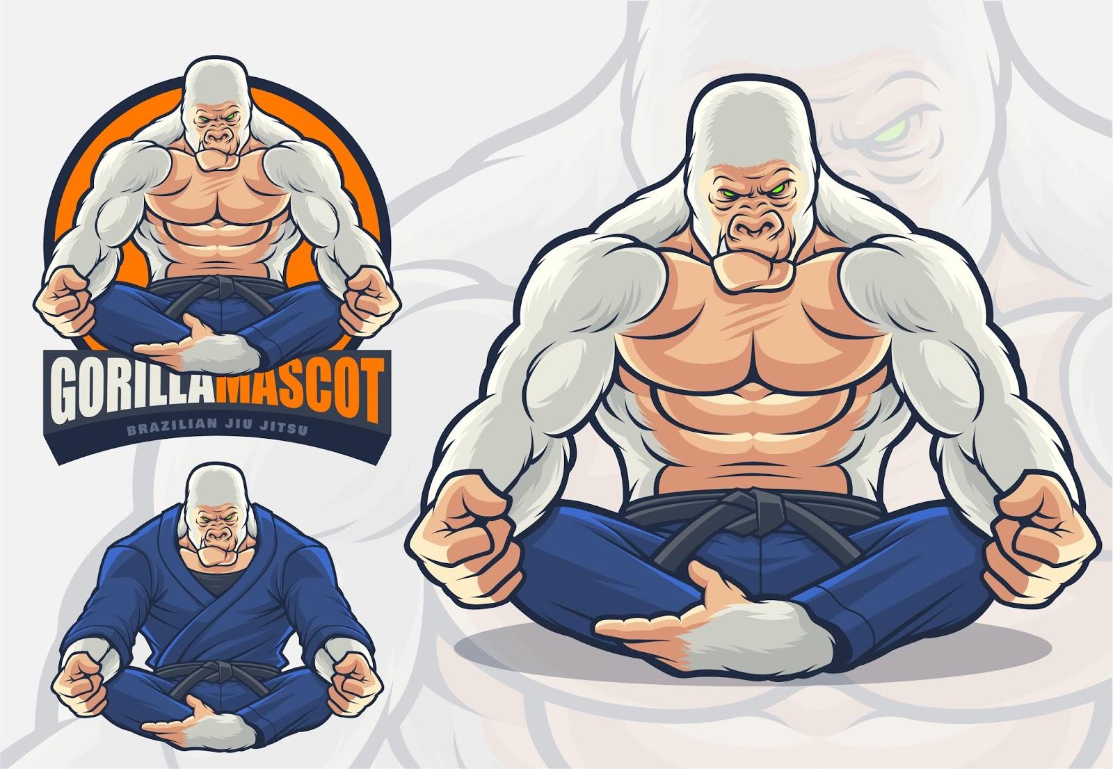 Gorilla Mascot Brazilian Jiu Jitsu Martial Arts Free Download Vector CDR, AI, EPS and PNG Formats