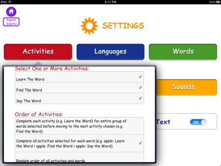 First Words International Activities Settings