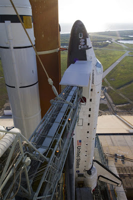 space shuttle Endeavour on launch pad where worker died