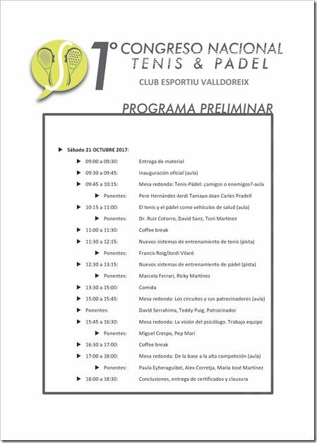 PROGRAMA 1er Congreso Nacional de Tenis y Pádel. 21 Octubre 2017 en Club Esportiu Valldoreix.