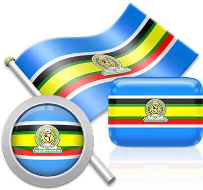 East African Community flag icons pictures collection