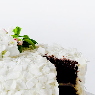 Chocolate Coconut Cake with Coconut Frosting.