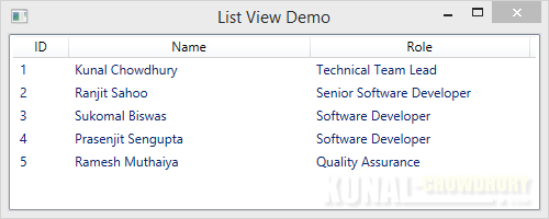 WPF ListView-GridView control - Column Header aligned Center by default (www.kunal-chowdhury.com)