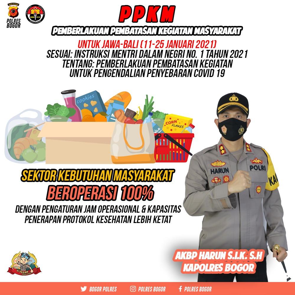 Kabupaten Bogor Terapkan PPKM Mulai Senin 11 Januari 2021